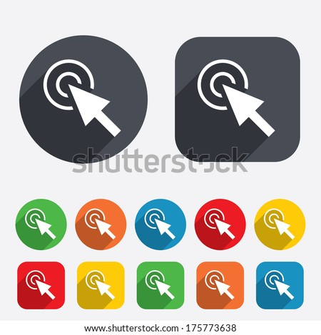 Mouse cursor sign icon. Pointer symbol. Circles and rounded squares 12 buttons. - stock photo