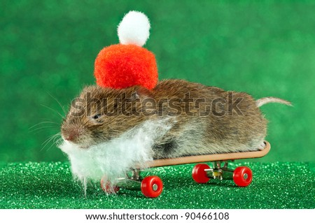Mouse dressed as Santa, lying on a miniature skateboard. Happy Christmaus.