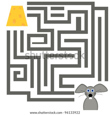 mouse finding his way to cheese - stock photo