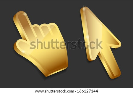Mouse hand and arrow gold cursors  illustration - stock photo