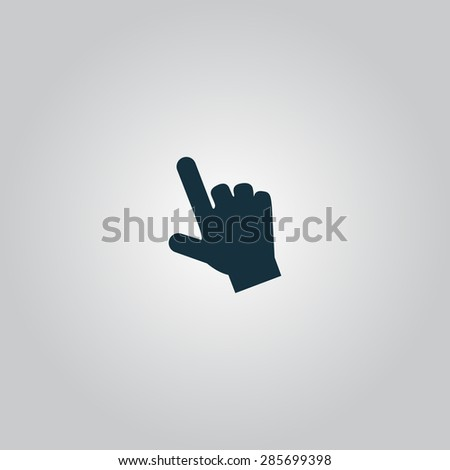 Mouse hand  cursor. Flat web icon or sign isolated on grey background. Collection modern trend concept design style illustration symbol - stock photo