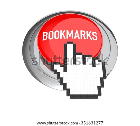 Mouse Hand Cursor on Bookmark Button. 3D Illustration.