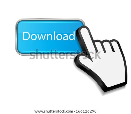 Mouse hand cursor on download  button  illustration