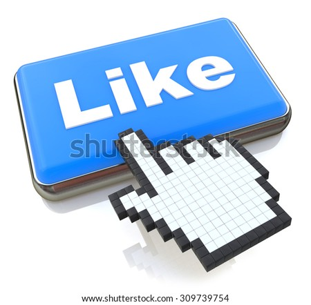 Mouse hand cursor on like button - stock photo