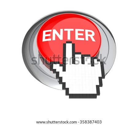 Mouse Hand Cursor on Red Enter Button. 3D Illustration.