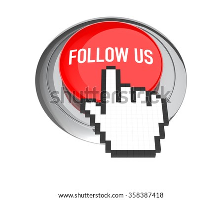 Mouse Hand Cursor on Red Follow Us Button. 3D Illustration.