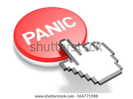 Mouse Hand Cursor on Red Panic Button. 3D Illustration. - stock photo