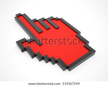Mouse hand red isolated - stock photo