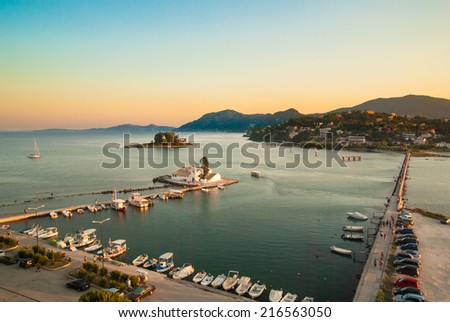 Mouse Island and the Vlacherna Monastery on the Kanoni peninsula of Corfu. M�¤useinsel View of Monastery and Mouse island on Corfu, Greece - stock photo