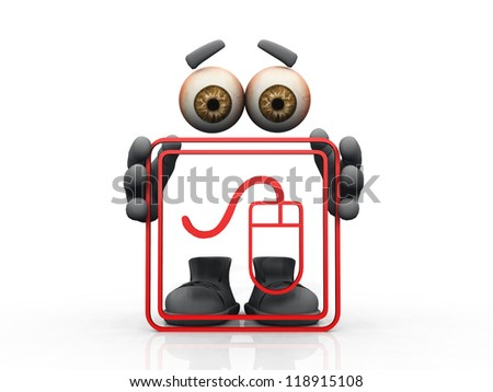 mouse  logo and  invisible man - stock photo