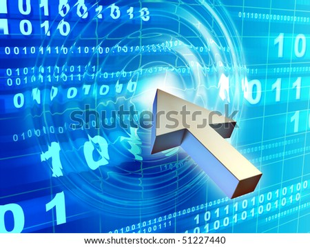 Mouse pointer creates waves in a code stream. Digital illustration. - stock photo