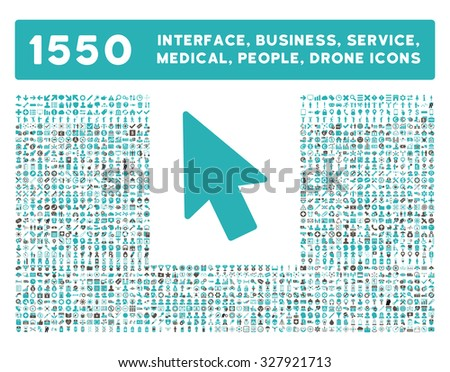 Mouse Pointer icon and other web interface, business, tools, people, medical service and awards glyph symbols. Style is bicolor flat symbols, grey and cyan colors, rounded angles, white background.