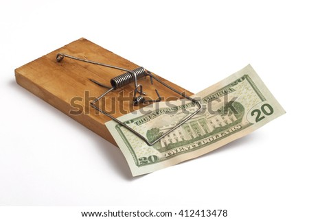 Mouse Trap and a Dollar - stock photo