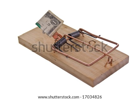 mouse trap baited with money, isolated on white ground