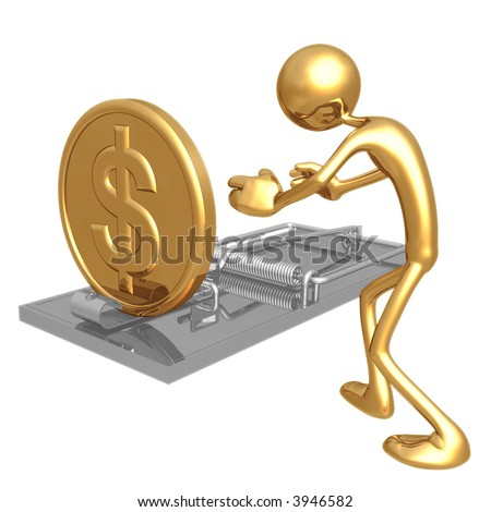 Mouse Trap Gold Coin - stock photo