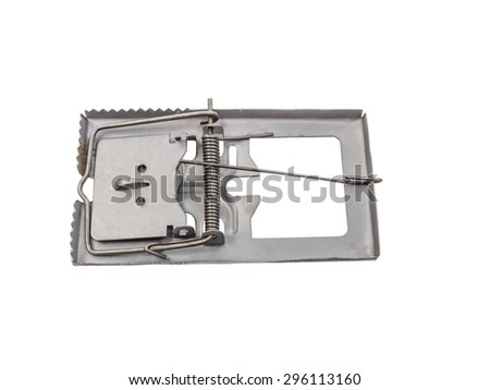Mouse trap isolated on white background - stock photo