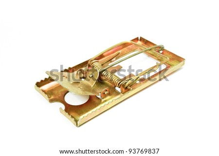 Mouse trap on white background. - stock photo
