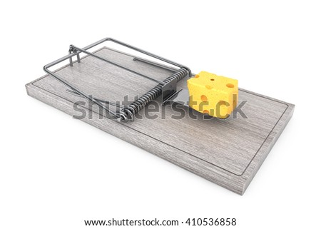 Mouse trap with a lpiece of cheese on a white background. 3d Rendering - stock photo
