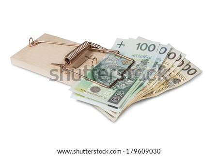 Mouse trap with Polish zloty, isolated over white. - stock photo