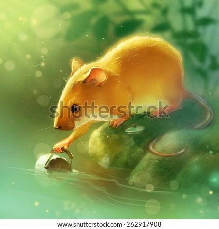 Mouse with a kettle in the forest near the river - stock photo