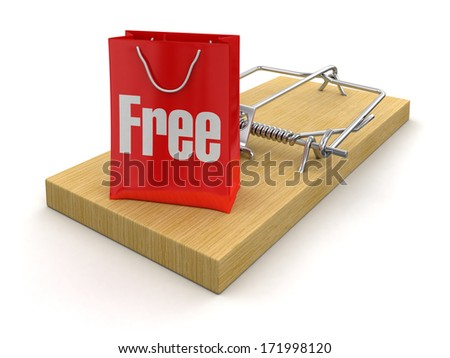 Mousetrap and bag free (clipping path included) - stock photo