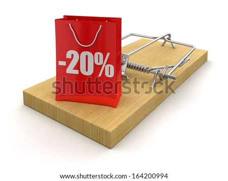 Mousetrap and bag with Percentage Sign (clipping path included) - stock photo