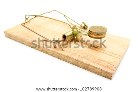 Mousetrap and coins. On a white background. - stock photo