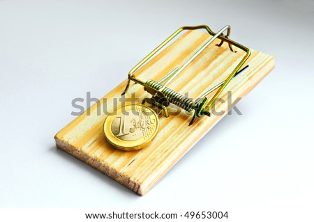 "Mousetrap greed money finance ""stock market"" risk speculation salary wages bribe fraud coins euro ""one euro job"" social welfare hourly wage unjust injustice currency poor unemployed social - stock photo"