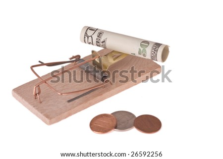 mousetrap with american money on white background - stock photo