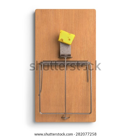Mousetrap with cheese on white background. Clipping path included. - stock photo