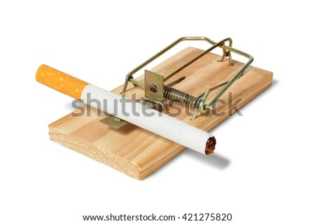 Mousetrap with cigarette on white background - stock photo
