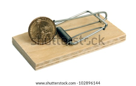 Mousetrap with dollar isolated on a white background. - stock photo