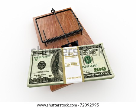 Mousetrap with dollar on white isolated background. 3d