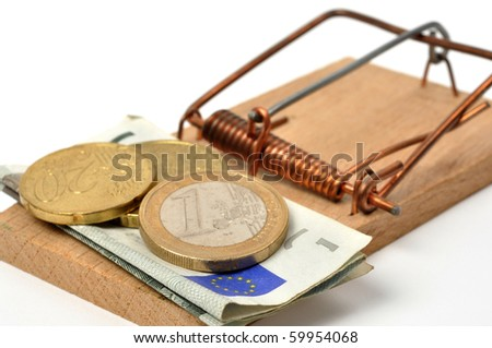 Mousetrap with euro money on white background
