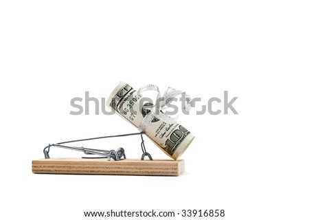 Mousetrap with hundred bucks is isolated against a white background - stock photo