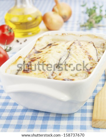 Moussaka, a Greek national food on the table