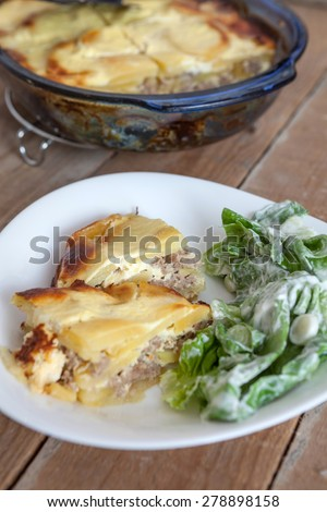 Moussaka and vegetables - stock photo