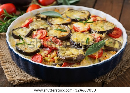 Moussaka (eggplant casserole) - a traditional Greek dish - stock photo