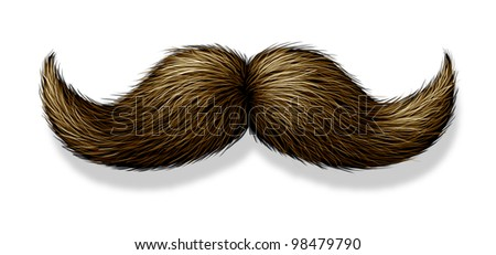 Moustache or mustache on a white background with a shadow as a symbol of masculinity for male grooming as the trimming of facial beard or body hair for the face of a man. - stock photo