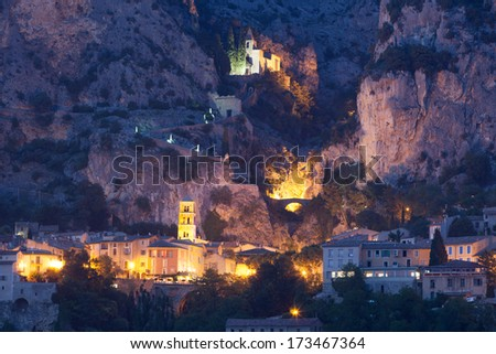 Moustiers-Sainte-Marie after sunset - stock photo