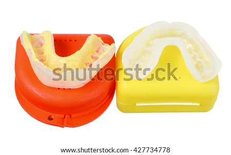 Mouth Guards on White Background - stock photo