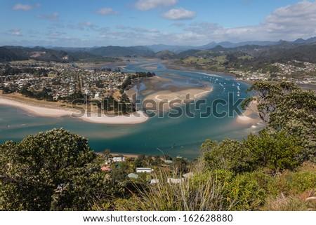 mouth of Tairua river - stock photo