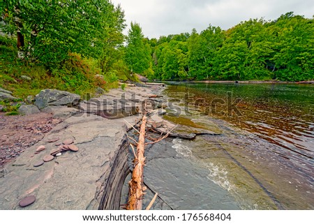 Mouth of the Presque Isle River on the Shore of Lake Superior - stock photo