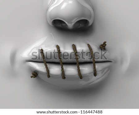 mouth sewn rope - stock photo