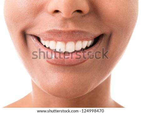 mouth tanned young women in Eastern appearance - stock photo