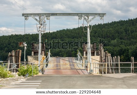 Movable bridge near the shore of Champlain lake Vermont, USA - stock photo