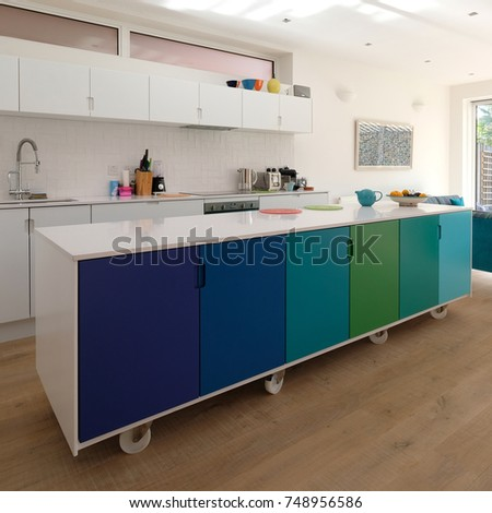 Movable Kitchen Island On Castor Wheels Stock Photo (Royalty Free ...