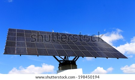 Movable solar modul, positionable system - stock photo