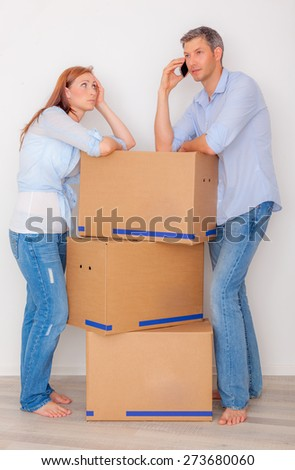 move in new house calling help  - stock photo