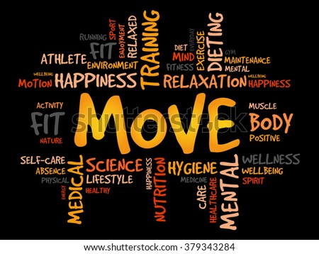 MOVE word cloud, fitness, sport, health concept - stock photo